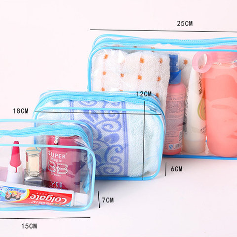 Ainvoev Travel Transparent Cosmetic Bag PVC Women Zipper Clear Makeup Bags Beauty Case Make Up Organizer Storage Bath Toiletry Lahore