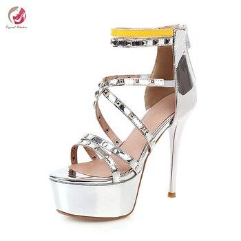 Original Intention New Stylish Rivets Sandals Woman Super High Sexy Platform Thin High Heels Hot Summer Sandals Party Club Shoes