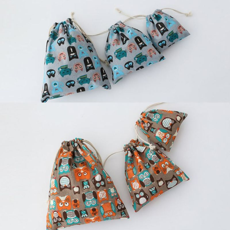 THINKTHENDO Owls Pattern Drawstring Portable Travel Storage Shoes Bag Organizer Pouch Packing Gift Bags 2020