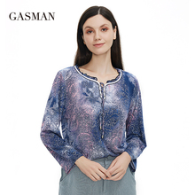 GASMAN New Summer women's t-shirt 2021 cut out ties crossed fashion Blouses floral printing vintage 3/4 sleeve t-shirts 9114