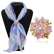 Fashion All-match Rhinestone Silk Scarf Buckle Koeran Flower Three Ring Alloy Scarf Buckle rhinestone vintage flower ring