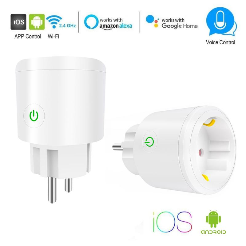 WIFI Wireless Remote Socket Smart Timer Plug 10A/16A Power Socket Outlet EU Plug Voice Control By Alexa/Google Home