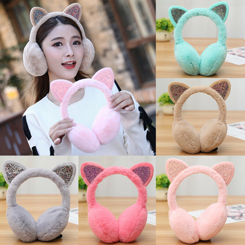 Women Girl Fur Winter Ear Warmer Earmuffs Cat Ear Muffs Earlap Glitter Sequin Earmuffs Ladies Plush Headband Warmer Outdoor
