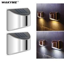 Wakyme 2 pçs/lote led solar luz à prova dwaterproof água lâmpada de parede movido a energia solar ao ar livre caminho rua pátio jardim luz projectores