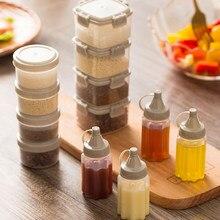 Portátil de plástico molho squeeze garrafa mini tempero caixa salada molho ferramenta cozinha acessórios condimento dispenser
