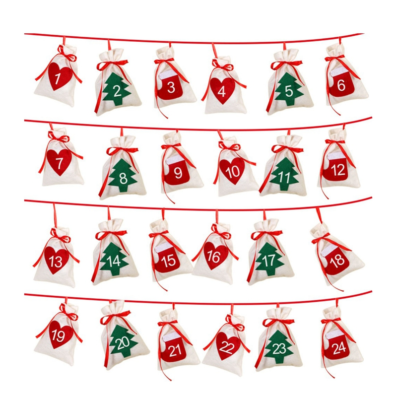 Cotton Christmas Advent Calendar Garland 24pcs 11x16cm Hanging Advent Calendar Gift Bags New Year 2019 Family Calendar