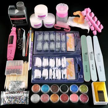 COSCELIA Acrylic Nail Kit Manicure Set Nail Art Tools Kit Acrylic Powder With Acrylic Liquid False Nail Tips Nail Drill Machine