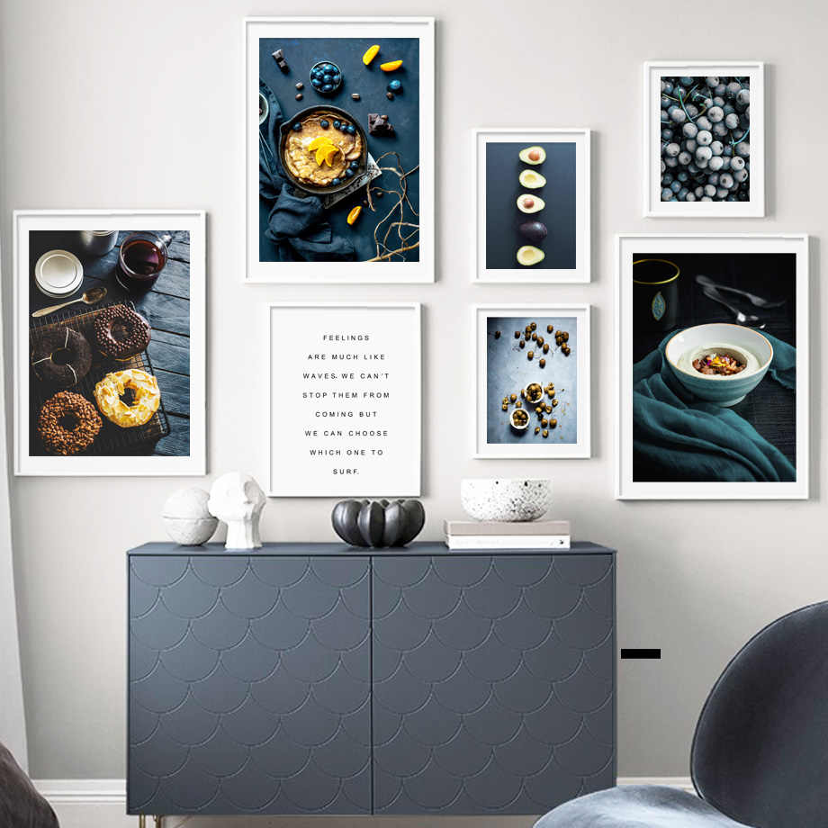 Donut Blueberry Orange Avocado Wall Art Print Canvas Painting Food Nordic Posters And Prints Fruit Art Wall Pictures For Kitchen
