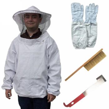 4 w 1 zestaw pszczelarski z wyposażeniem ochronnym pszczelarstwo garnitur kapelusz rękawiczki zestaw narzędzi oddychający i widoczny Herramientas tanie i dobre opinie CN (pochodzenie) Z włókna bambusowego 4 In 1 Beekeeping Tools Full Protection Loose and comfortable Prevent bee stings