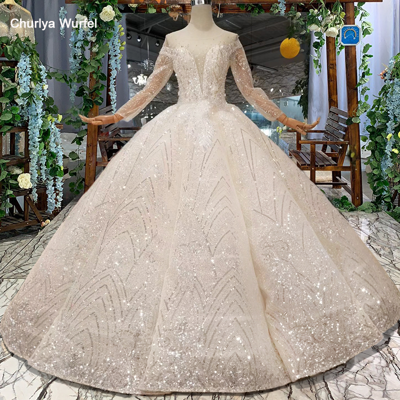HTL048 International New Material Wedding Dresses With Glitter O-neck Swollen Ball Gown Hot Sale Wedding Gown 2019 Floor Length