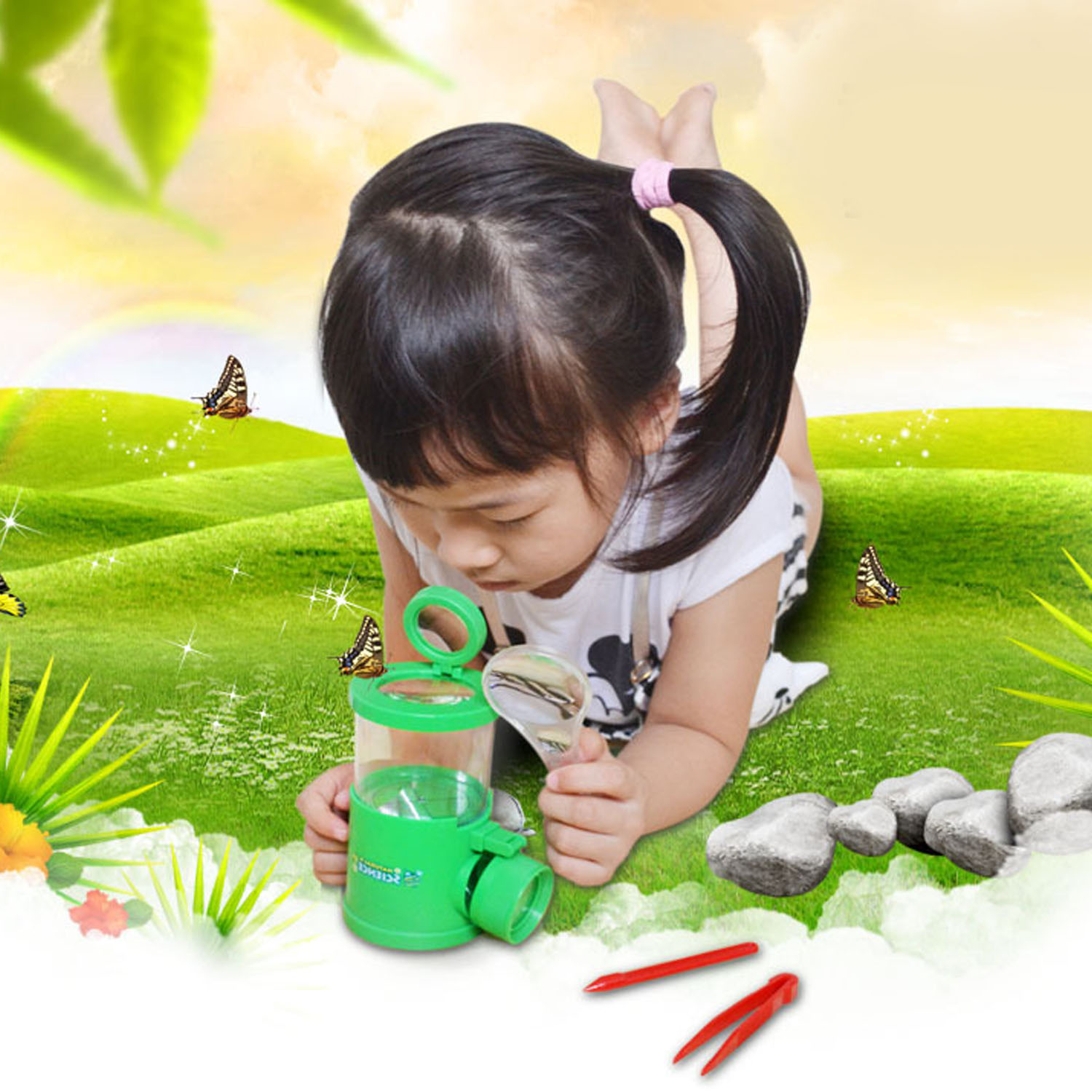 Kids Insect Bug Magnify Viewer Catcher Magnifier Microscope Science Toy Kit Including Viewer Magnifier Tweezers Stick