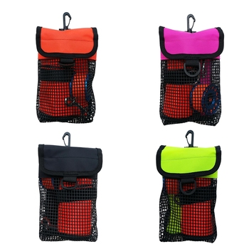 Scuba Diving Reel Bolt Snap & SMB Safety Marker Buoy Mesh Gear Bag Equipment Holder Carry Pouch - Choice of Colors