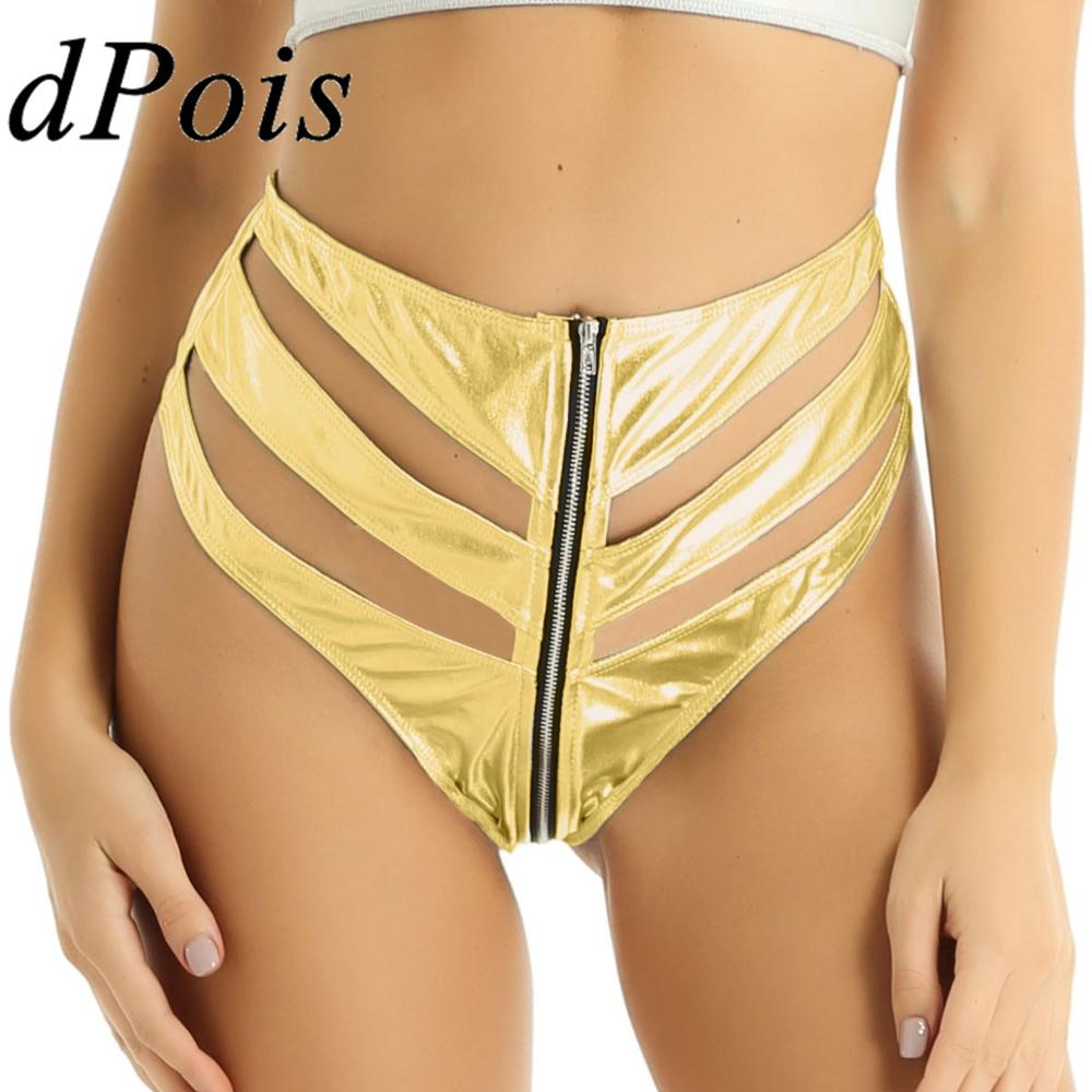 Women Shiny Latex Booty Shorts Female Hollow Out Short Pants Front Zipper Mini Hot Shorts Clubwear Pole Stage Dance Wear Costume
