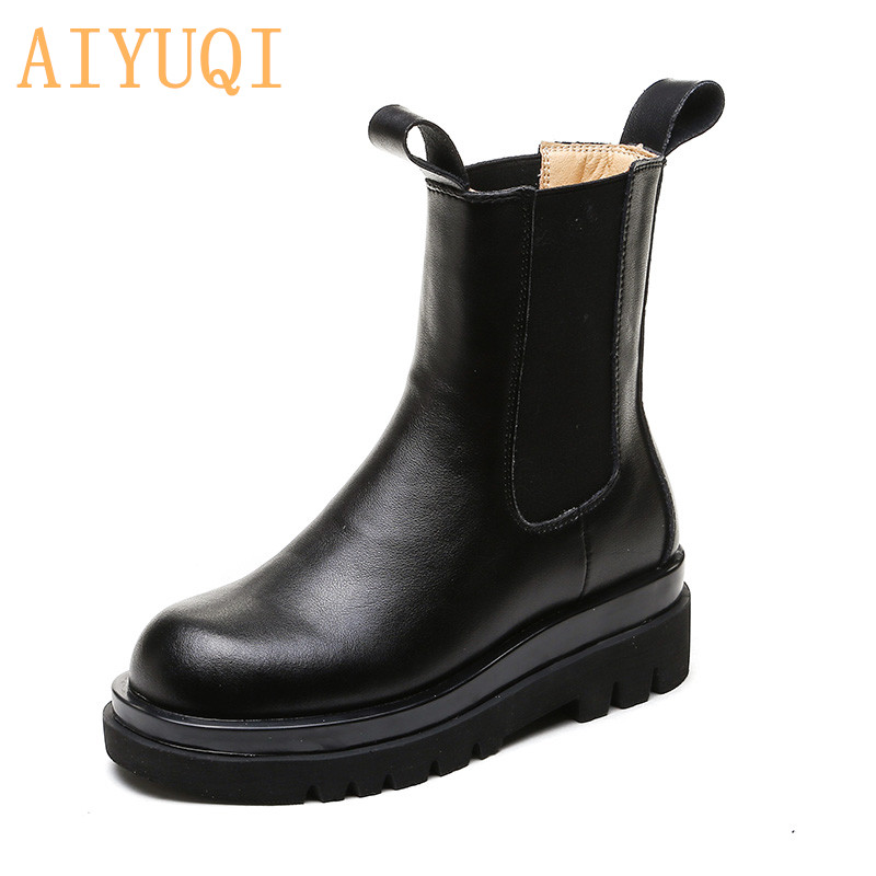 AIYUQI  Boots Women Trend Korean Version Thick Bottom Set Feet British Style Genuine Leather Chelsea Boots Ladies