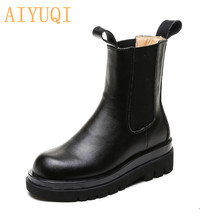Chelsea Boots British-Style Korean-Version Thick Genuine-Leather Women Ladies AIYUQI