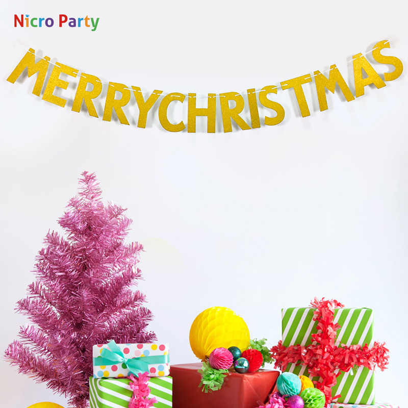 Nicro ทองกระดาษ PARTY Letter Garland Merry Christmas Happy New Year 2020 Home PARTY ตกแต่ง # PG92