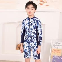 Swimsuit Kids Boys Swimwear For Children One Piece Child Printed Swimming Suit Surfing Long Sleeve Shorts Rash Guard Zipper