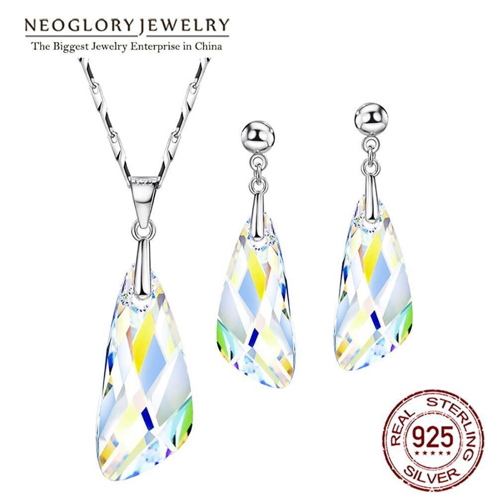 Neoglory kristallen sieraden set geometrische stijl S925 zilveren - Mode-sieraden