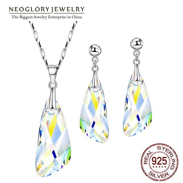 Neoglory kristal takı seti geometrik tarzı S925 gümüş kolye & küpe Swarovski kristalleri ile süslenmiş