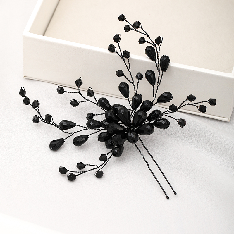 Black Color Crystal Hairpins Handmade Vintage Baroque Tiara Headpiece Wedding Headdress Women Bridal Hair Accessories Jewelry