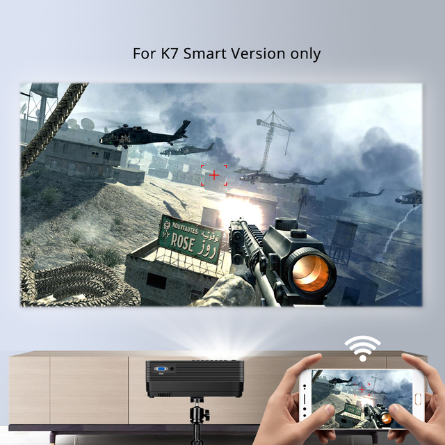 BYINTEK Mini Projector K7 ,1280x720 P,Smart Android Wifi Video Beamer 4