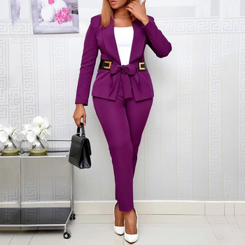 Set Two Piece Top and Pants Office - African Ladies Casual  V Neck Business - Pant Suits Female Work 1