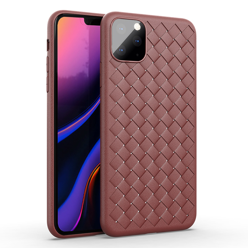 Hfa62eb9cc0f4405a977bec9cbdf7685dA NEW Boomboos Classic cross leather pattern weaving breathable soft grid case for iPhone11 for iphone 11 max for apple 11 pro