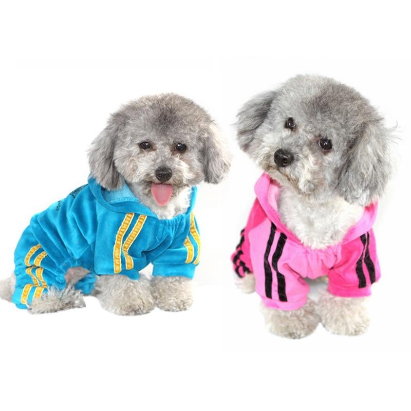 Cute Pet Velvet Clothes Dog Pajama Jumpsuit Puppy Cat Hoodie Coat Apparel H