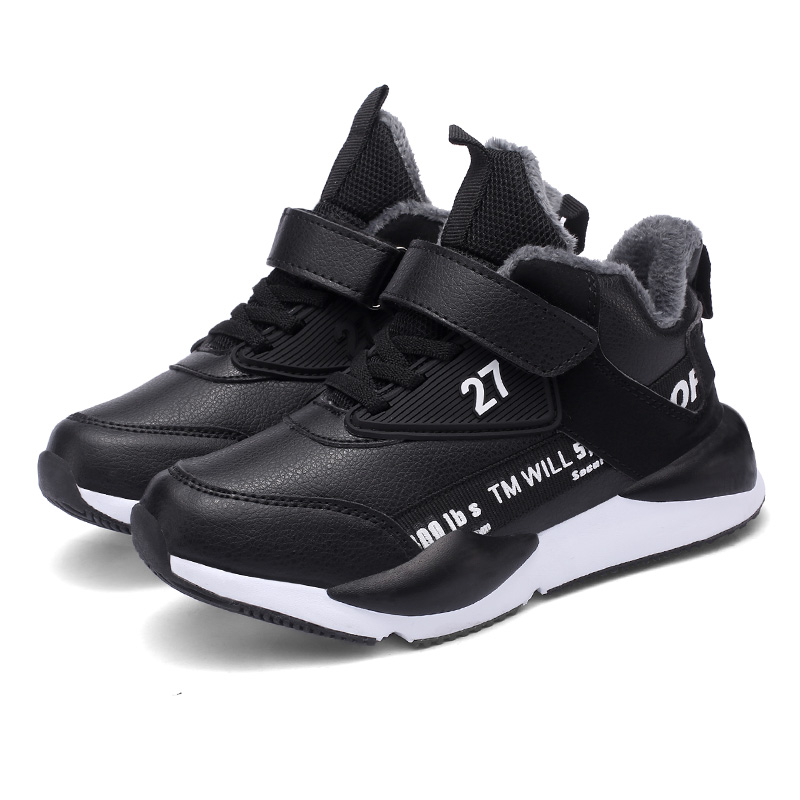 ULKNN Children Winter Warm Basketball Shoes Kids Slip Warm Winter Leather Plush Shoes Students Sneakers Boy Running Shoes