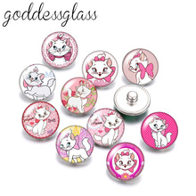 Jewelry Snap-Buttons Necklace Diy Cartoon Marie Cat Disney 10pcs Round for 18mm Cute