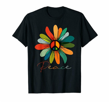 Black Daisy Peace Sign Hippie Vintage Gift T Shirt Men'S S-6Xl Us 100% Cotton Outfit Tee Shirt