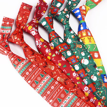 Christmas Neck Tie for Men Boys Xmas Polyester Necktie Party Holiday Banquet Event Favor Gifts