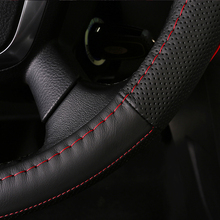 wholesale 1X Black Gray DIY Car Steering Wheel Cover With Needles and Thread Genuine Artificial leather free shipping