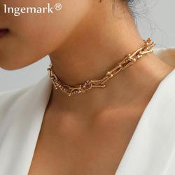 Goth-collier cubain cristal pour femmes, collier Boho, en forme de U, torsadé, chaîne épaisse à maillons épais, bijoux Punk et hommes