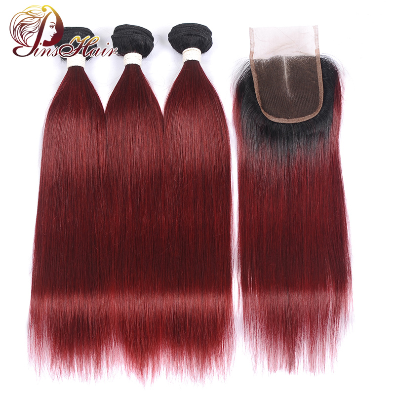 Brazilian Human Hair Bundles With Closure Ombre T1B/99J Burgundy Straight Hair Bundles With Closure Pinshair Nonremy Pre Plucked