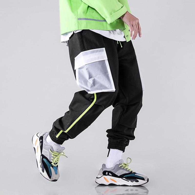 Poche Cargo transparente reliure néon homme pantalon de survêtement Streetwear pantalon de survêtement mode