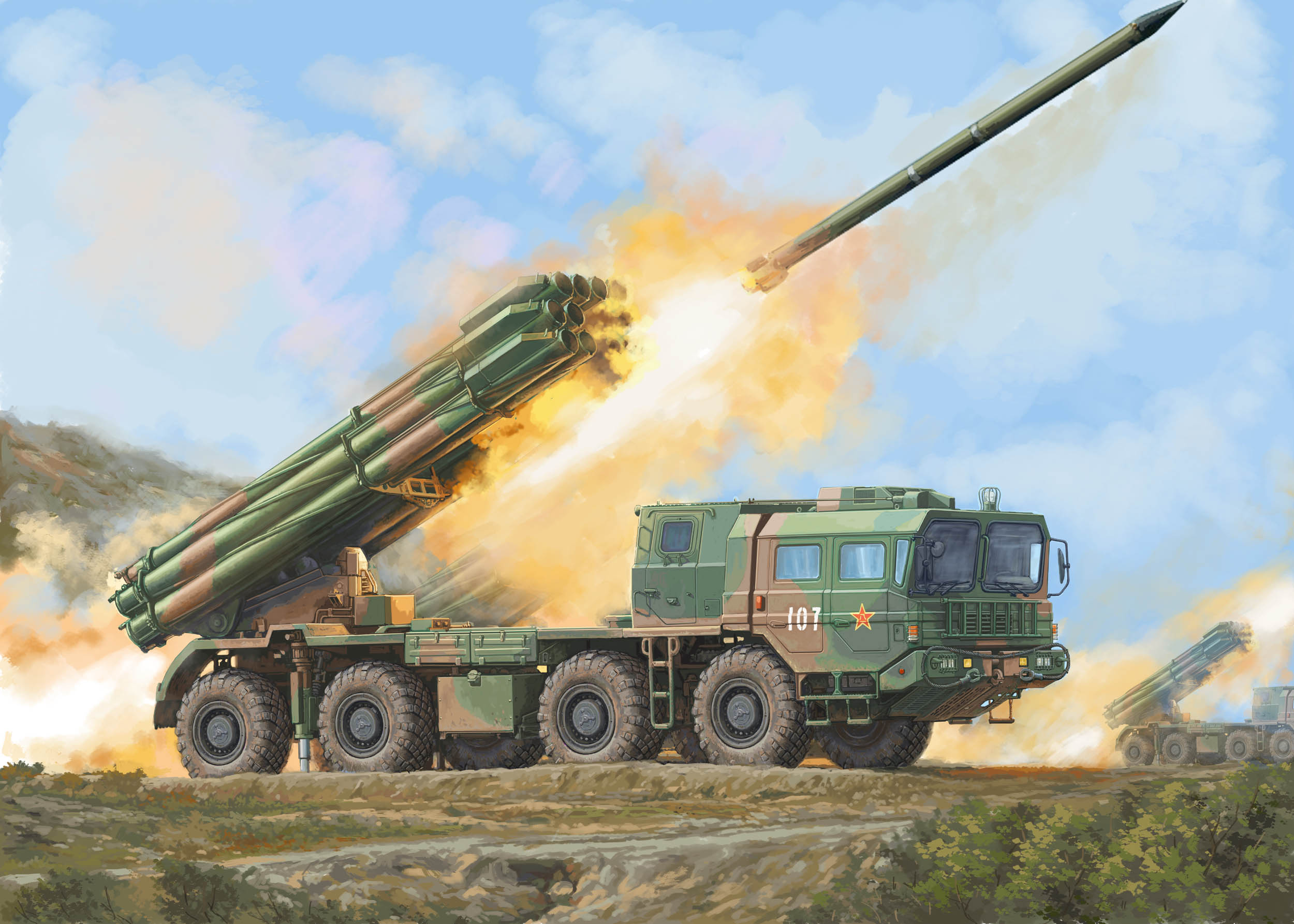 <font><b>Trumpeter</b></font> 01069 <font><b>1/35</b></font> SCALE China PHL-03 MULTIPLE LAUNCH ROCKET SYSTEM MODEL image