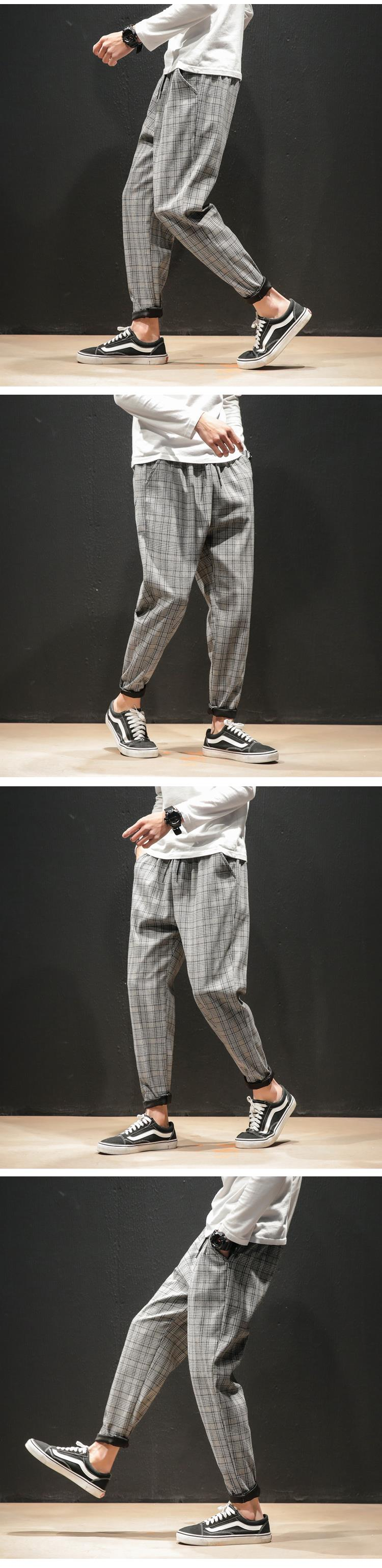 Hfa63a8e740c3444da9b14def2824907fk Dropshipping Japanese Streerwear Men Plaid Pants 2019 Autumn Fashion Slim Man Casual Trousers Korean Male Harem Pants