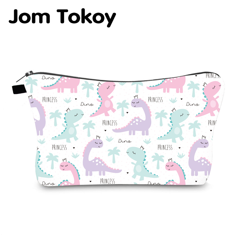 Jom Tokoy Waterproof Cosmetic Organizer Bag Makeup Bag Printing Dinosaur Cosmetic Bag Fashion Women Multifunction Beauty Bag 993