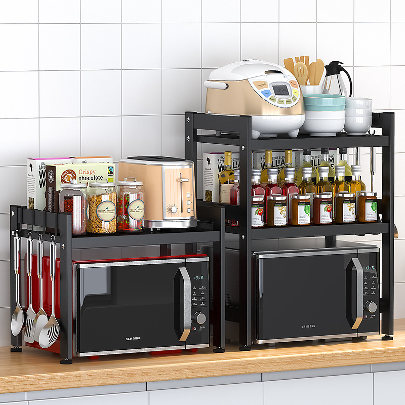 Microwave Oven Shelf Integrated Single Double Layer Desktop Multifunctional Discharge Rice Cooker Storage Rack Kitchen Organizer