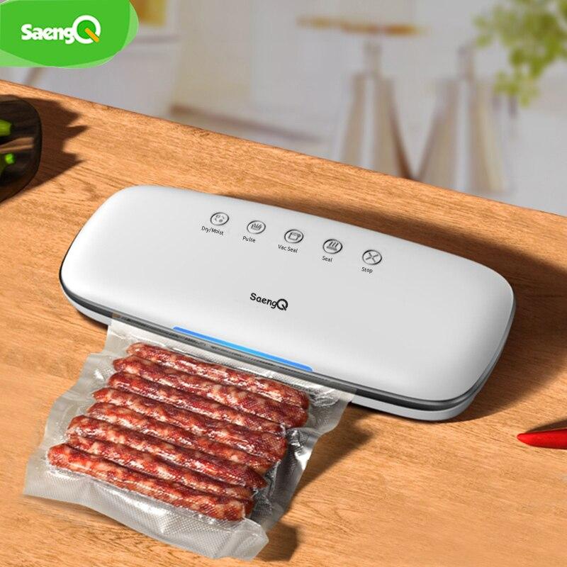 SaengQ Electric Food Vacuum Sealer Machine 220V 110V With 10pcs Food Saver Bags Home Automatic Food Vacuum Packaging Machine