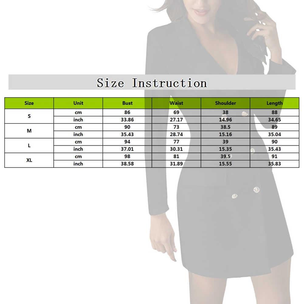 OEAK セクシーな黒ダブルブレストブレザードレスオフィスドレスローブブレザー白ドレスプラスサイズスリム作業着用ドレス