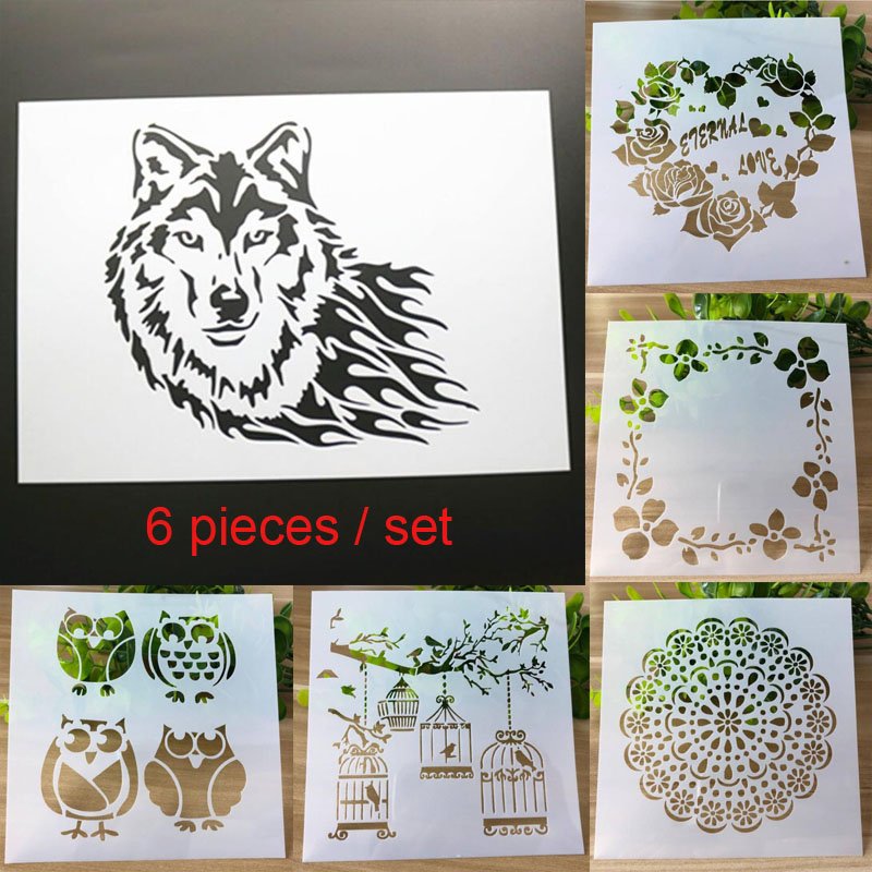 6pcs Animal DIY Craft Layering Stencils For Walls Painting Scrapbooking Stamp Album Decor Embossing Paper Card Template Reusable