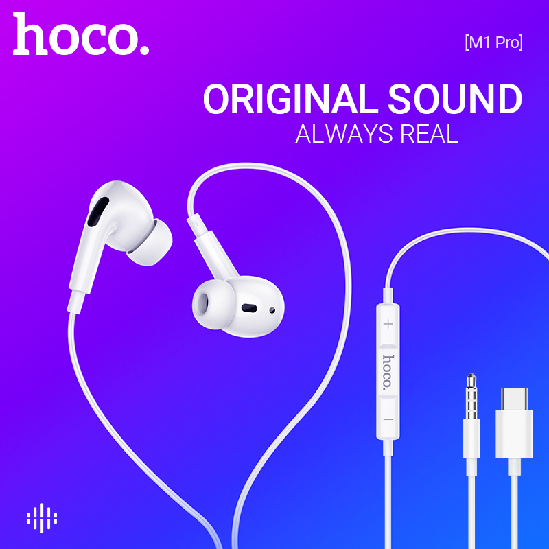 Hoco Type C ecouteurs avec micro Hifi oreille téléphones 3.5mm jack In-Ear écouteur sport filaire casque pour iPhone Xiaomi Huawei Letv