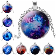 2019 New Hot Fashion Jewelry Necklace Glass Galaxy Fashion Pendant Three-color Glass Convex Round Pendant Necklace Jewelry Giftt 2019 new trend color woodpecker glass convex round pendant necklace youth accessories handmade necklace pendant