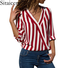 купить Sitaicery Women Striped Blouse Shirt Long Sleeve Blouse V-neck Shirts Casual Tops Blouse et Chemisier Femme Blusas Mujer De Moda онлайн