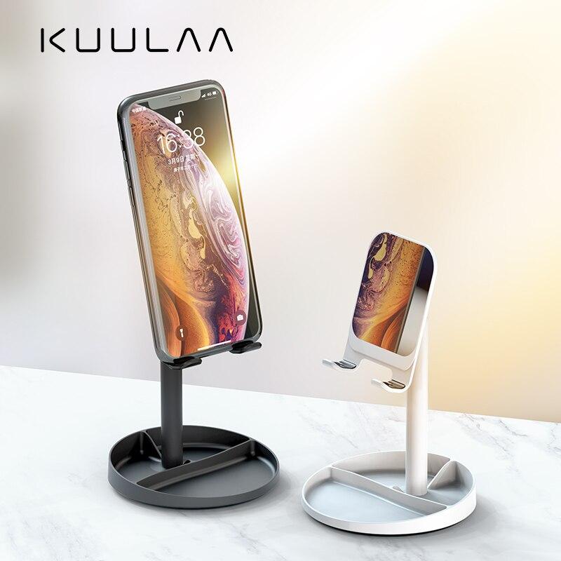 KUULAA Mobile Phone Stand Holder For Xiaomi Smartphone Metal Desk Desktop Phone Mount Holder For iPhone 11 8 7 iPad Air Tablet