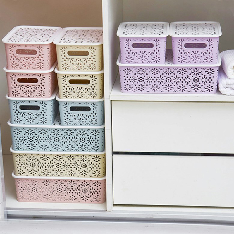 Hollow Out Fashion Plastic Underwear Storage Bins Box Drawer Bra Underwear Sorting Socks Stash Box With White Lid Free Shipping