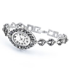 QINGXIYA Exquisite Crystal Floral Bracelets Watch For Women Antique Silver Decor