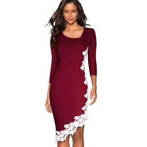 Image 3 - נחמד לנצח אלגנטי לבן תחרה טלאי משרד סימטרי vestidos המפלגה עסקי חורף Bodycon נשים שמלת B561
